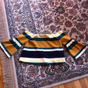 Zara Stripe Off The Shoulder Top